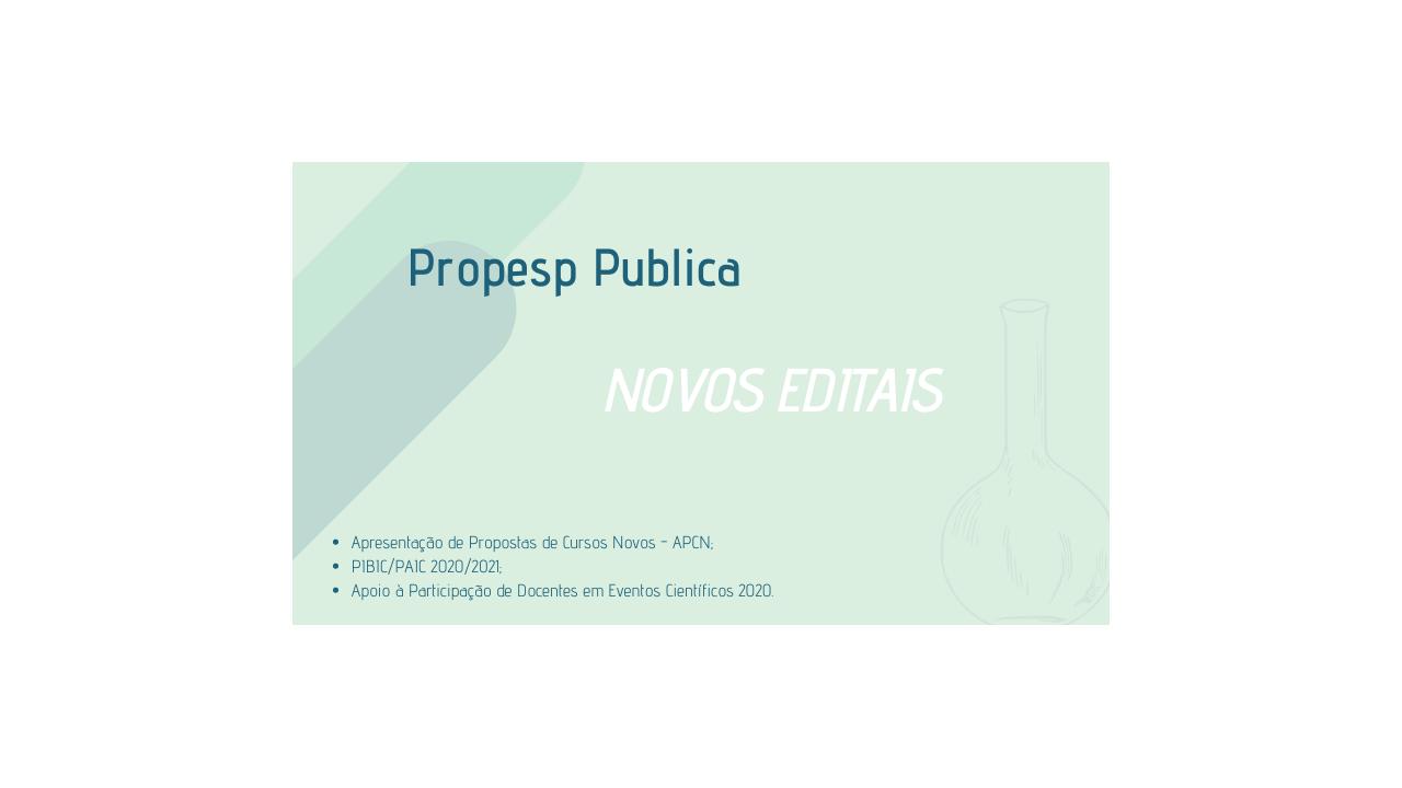 PROPESP DIVULGA EDITAIS 2020