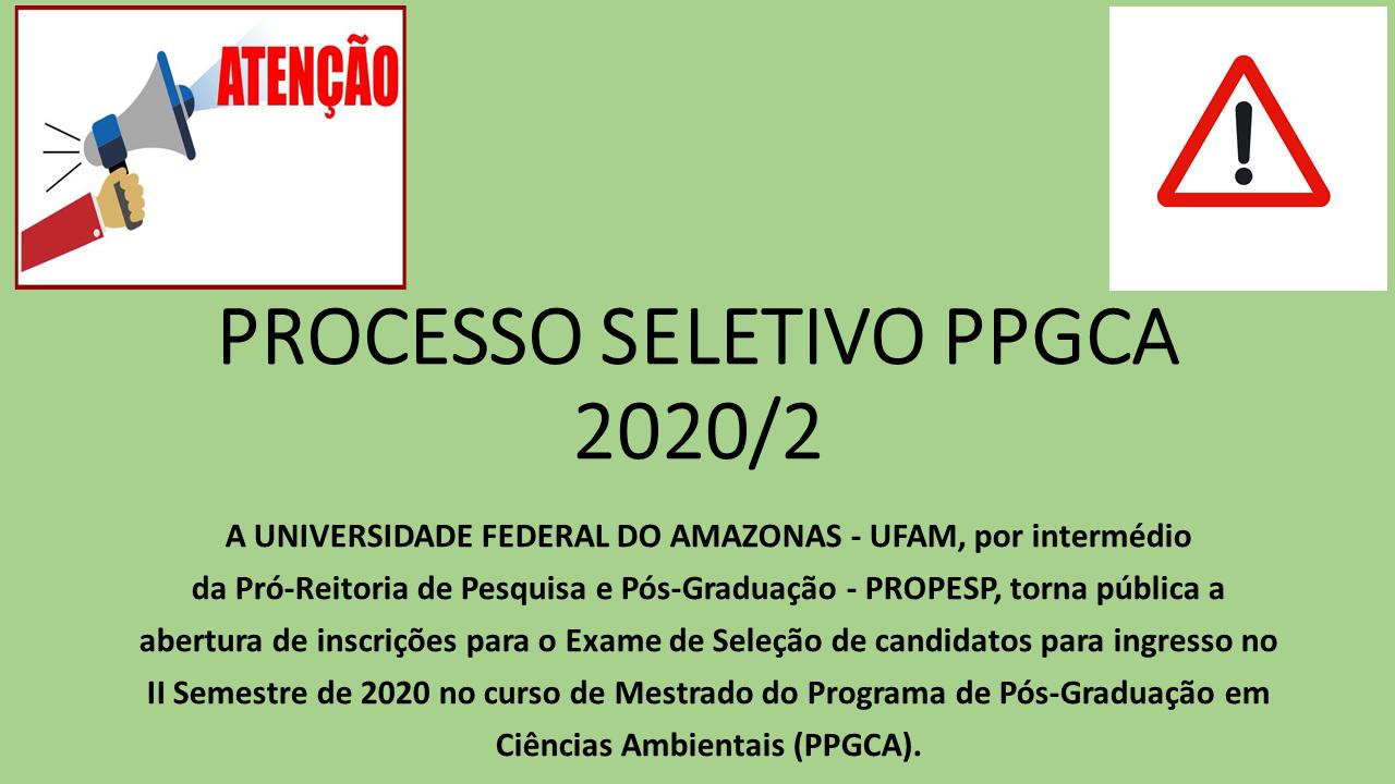SELEÇÃO PPGCA 2020/2